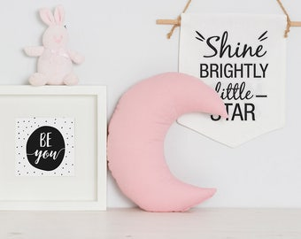 Baby Girl pastel pink Crescent Moon cushion pillow gift, Pink nursery decor pillows, newborn, new baby girl gifts