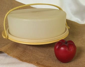 Vintage Tupperware Pie Saver, Cake Carrier, Bakery Keeper, Sheer White and Yellow Tupperware, Kitchen Storage, Covered Cake Plate