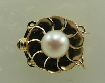 Freshwater White Flower 6.5 mm Pearl Clasp 14k Yellow Gold for Double Strand
