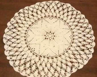 Beige Crochet Doily Tablecloth. Free Shipping