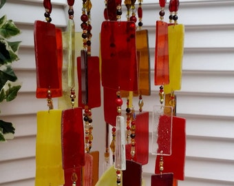 Stunning Stained Glass Wind Chime and Sun Catcher in Red, Yellow and Amber Stained Glass with Glass Beads for Yard and Garden Decor