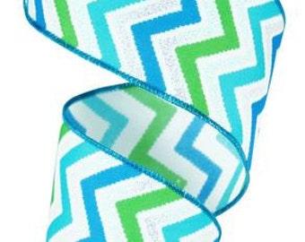 RIBBON - Wired Ribbon - Blue Ribbon - Green Ribbon - Chevron Ribbon - Wreath - Floral Ribbon - RG152664