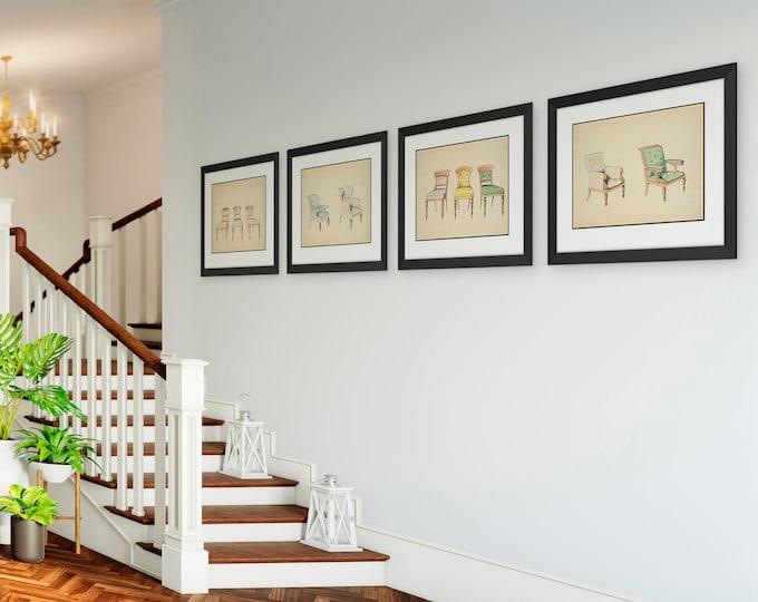 Chair Wall Art Prints, 4 Piece Framed Wall Set, Dining Room Decor, Vintage Interior Design Illustrations, Living Room Art