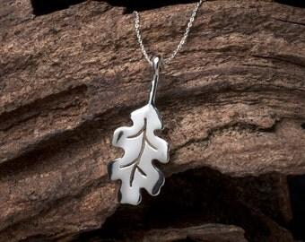 Sterling Silver Oak Leaf Necklace, Silver Oak Leaf, Oak Leaf, Oak Leaf Pendant, Oak Leaf Necklace, Silver Leaf, Oak Leaf Jewellery