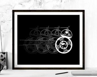 BB-8 Droid Print, BB-8 Star Wars Print, BB-8 Droid Posters, Star Wars Poster, Movie Poster, Minimalist Star Wars Poster, Printable Art