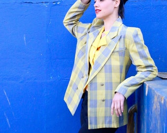 French Vintage 80's yellow plaid blazer/ Summer Spring fitted padded tartan checkered button up jacket 1980s boyish / Size M Large