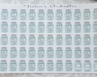 52 Week 2 Dollar Savings Challenge Stickers
