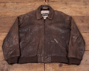 "Mens Vintage Diesel Leather Jacket Quilt Lined Brown XL 48"" R4676"