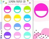 M049 Bright Half Circle Labels // Planner Stickers