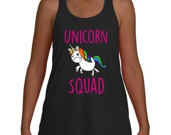 Unicron Squad Unicorn Party Cute Brother Sister Team Flowy Racer back Tank Top