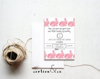 Bunny Birthday Party Invitation | Bunny Rabbit Party | 5x7 Invitation | Digital Printable