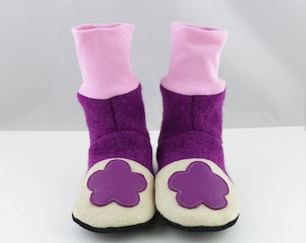 Slippers Gr. 30/31,Kinderschuhe, slippers made of wool felt, kindergarten, shoes, kids slippers, shoes with cuffs, shoes made of wool
