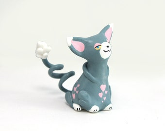 Pokemon Glameow figure pokemon go figurine animal totem figure cat pokemon figure anime figure velvet clay polymer clay figure