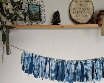 Hand Dyed Shibori Fabric Garland // Indigo Dyed // Fabric Garland