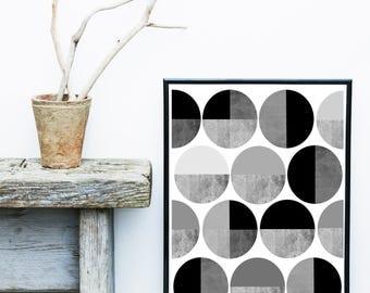 Monochrome Print, Circles Print, Scandi Art, Mid Century Modern, Art Print, Abstract Art Print,  Giclee print, Wall Art,  Poster, Wall Decor