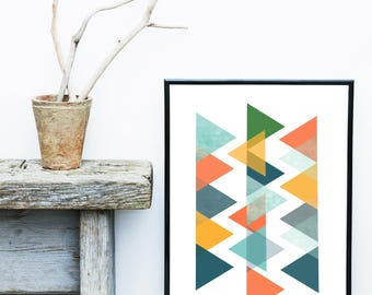 Colorful Geometric Print, Scandi Print, Geometric Wall Art,  Abstract Art Print, Giclee print, Wall Art,  Home Decor, Wall Decor