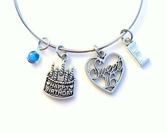 Sweet Sixteen Jewelry, Gift for 16th Birthday Charm Bracelet, Daughter, Bangle initial Birthstone Present Teenage Girl Teen Teenager Happy