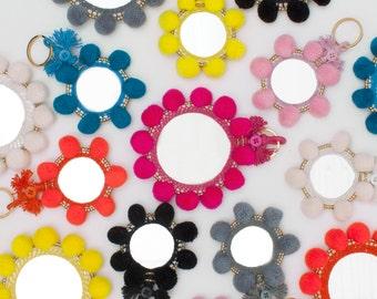 Super Pom Pom Mirror Keyring  || Tote Bag Charm || Various Colours