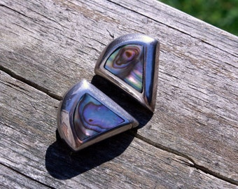 Triangle, 925, Abalone, Mother of Pearl, Clip On, Earrings, MOP, Jewelry, Inlay, Shell, Sterling, Silver, Inlaid, Iridescent, Mexico, Taxco