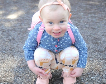 Melon Polka Dot Skinny Knot Girl's Headband, Soft and Stretchy, Newborn, Infant, Baby, Toddler, Knit fabric, White, Peach