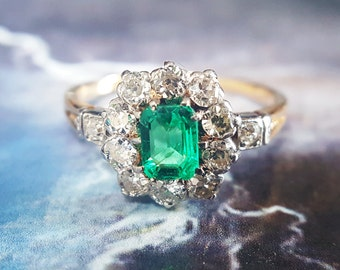 Emerald Engagement Ring | Antique Emerald Ring | Vintage Engagement Ring | Antique Engagement Ring | Halo Engagement Ring Vintage Halo Ring