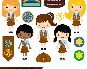 Girl scouts clip art | Etsy