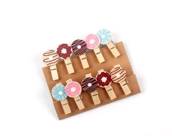 Donut Wooden Clips, Sweet Eat Doughnuts, Cute Little Gift, Stationary Things