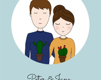 Custom Couple Portrait - Couple Portrait Illustration - Personalized Portrait - Gift for Her - Gift for Him - Valentines Gift - Anniversary