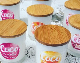 Soy Candle In White Opaque Tumbler With Bamboo Wooden Lid