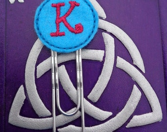 Monogram K - Jumbo Clip - PaperClip - Felt Planner Clip - Planner Accessory - Stationery - Cute Paper Clip - Bookmark - Planner Clip