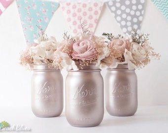 Blush Wedding / Silver Champagne / Blush Rose Gold Wedding Centerpiece Painted Mason Jars Table Reception Decor / set of 3 pints