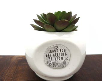 succulent planter, back to school, mom gifts, teachers gift, custom hand stamped, unique planter, planter cactus planter, gift for teacher
