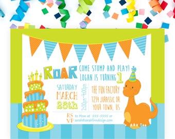 Dinosaur Birthday Invitation, Dinosaur Party, Printable Invitation, First Birthday, RAWR, Roar Dino-mite, T-Rex 1st Birthday Baby Dinosaur