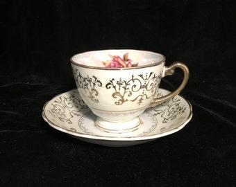 Vintage Single Rose Teacup & Plate