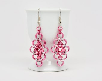 Japanese Diamond Earrings in Pink and Silver Colored Anodized Aluminum