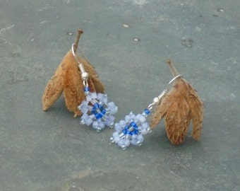 Chicory Earrings, Czech Seed Bead Earrings, in satin powder blue, silver grey and cobalt blue seed beads, UK seller