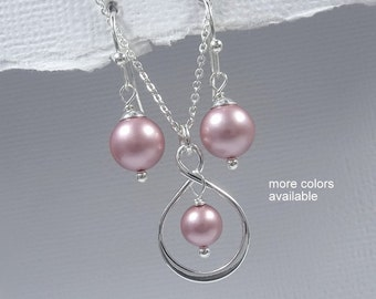 Sterling Silver Infinity Jewelry Set, Sterling Silver Infinity Necklace and Earring Set, Pink Pearl Bridesmaid Jewelry Set, Pink Pearl