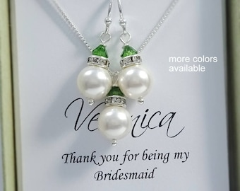 Green Jewelry Set, White and Red Jewelry Set, Personalized Bridesmaid Gift, Greenery, Bridal Party Gift, Swarovski Necklace and Earrings Set