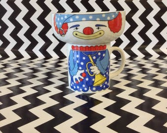 Silly Willy~Vintage Clown Mug and Bowl Set~Fine China~Blue Clown Cup