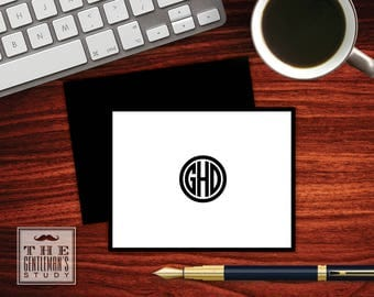 Circle Monogram Folded Note Cards - Men's Monogram Stationery - Masculine Foldover Note - Stationary for Men - Executive Thank You Note