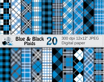 Blue and Black Plaids Digital Paper, Buffalo Plaid Lumberjack Check Digital papers, Black Blue Geometric Scrapbook papers, Instant Download