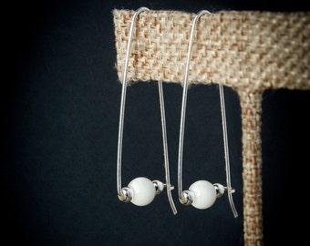 Sterling and Pearl Earrings, Modern Sterling Silver Earrings, Modern Bridal Earrings, Pearl Earrings, Modern Pearl Earrings, White Earrings