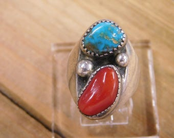 Turquoise and Coral Sterling Silver Ring Size 7