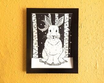 Snow Bunny Screen Print Poster