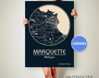 MARQUETTE Michigan CANVAS Map Marquette Michigan Poster City Map Marquette Michigan Art Print Marquette Michigan poster Marquette ArchTravel