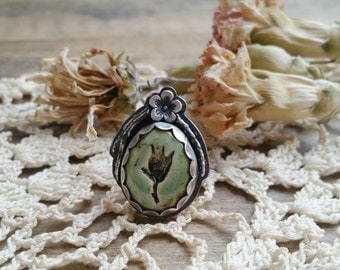 Sage Floral Impressions Ring // victorian, goth, hippie, boho