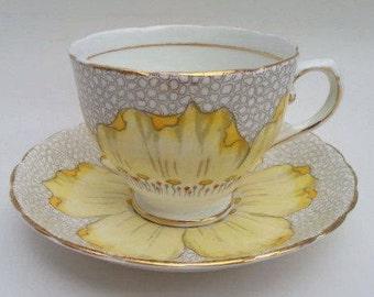 Vintage Tuscan Tea Cup Set, Mid Century Modern Tuscan Floral Tea Cup Set, English Bone China Tea Cup and Saucer