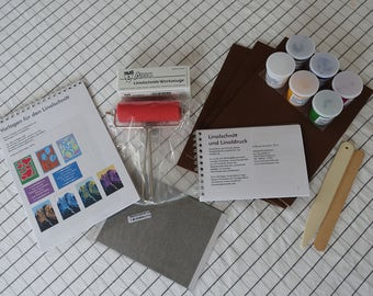 Product set for Lino cutting and printing, all in one bag: patterns, transfer material, carving and printing tools, colors and lino blocks!