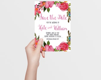Save the Date | Pastel Floral | Pink Magenta Fuschia | Floral Watercolor | Spring Summer | Printable/Digital File