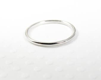 Silver Stacking Ring, Smooth Sterling Silver Thin Ring, Thumb Ring